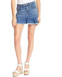 Vigoss - Jagger Ruffled Hem Denim Mini Skirt - Lyst