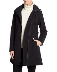 Via Spiga - Faux Fur Trim Asymmetric Military Soft Shell Coat - Lyst