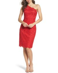 Eliza J - One-shoulder Lace Dress (regular & Petite) - Lyst