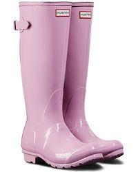 HUNTER - Adjustable Back Gloss Rain Boot (women) - Lyst