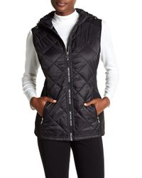 MICHAEL Michael Kors - Quilted Hooded Fleece Vest - Lyst