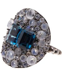 Stephen Dweck - Sterling Silver Blue Topaz & Pave Moonstone Statement Ring - Size 7 - Lyst