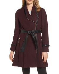 Guess - Belted Boiled Wool Blend Coat - Lyst