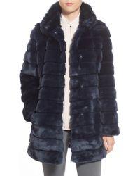 Eliza J - Grooved Faux Fur Coat - Lyst