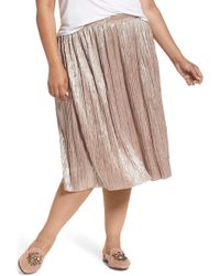Vince Camuto - Crushed Foil Pleated Skirt - Lyst