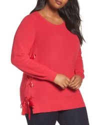 Sejour - Lace-up Pullover (plus Size) - Lyst
