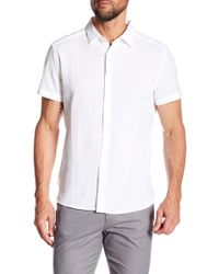 Kenneth Cole - Seersucker Short Sleeve Regular Fit Shirt - Lyst