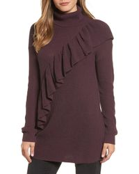 Halogen - Ruffle Front Turtleneck Tunic (regular & Petite) - Lyst