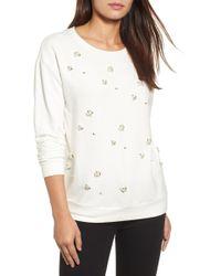 Halogen - Embellished Sweatshirt (regular & Petite) - Lyst