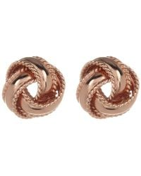 Argento Vivo - 18k Rose Gold Plated Sterling Silver Rope Knot Stud Earrings - Lyst