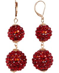 Carolee gold tone red stone and crystal chandelier earrings in joe fresh red crystal euro double ball drop earrings lyst aloadofball Gallery