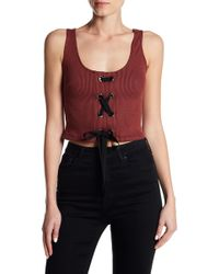 Lush - Ribbed Lace-up Crop Top - Lyst