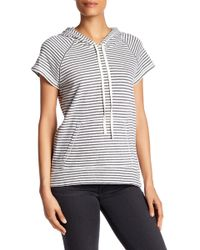 Max Studio | Short Sleeve Striped Hooded Pullover | Lyst