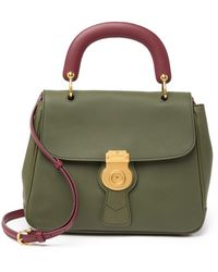 Burberry Porter Leather Top Handle Satchel - Green