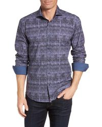 Bugatchi - Shaped Fit Abstract Print Sport Shirt - Lyst