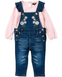 7 For All Mankind - Embroidered Overalls Set (baby Girls) - Lyst