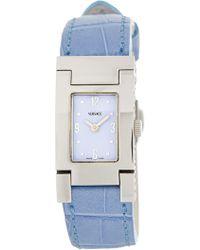 Versace - Women's Blue Croc Embossed Leather Strap Watch, 23mm - Lyst