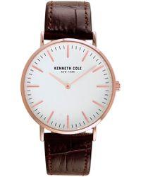 Kenneth Cole - Men's Quartz Leather Strap Watch, 39mm - Lyst
