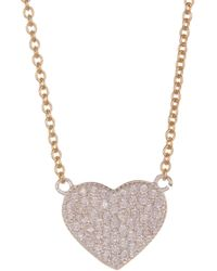 Argento Vivo - Sterling Silver Pave Heart Pendant Necklace - Lyst