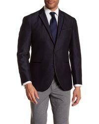 Kenneth Cole Reaction - Blue & Black Jacquard Two Button Notch Lapel Evening Trim Fit Jacket - Lyst