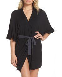 Josie Ruffle Trim Short Robe - Black