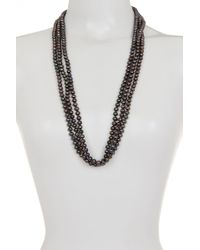 Splendid - Endless Black Dyed 7-8mm Freshwater Pearl Necklace - Lyst