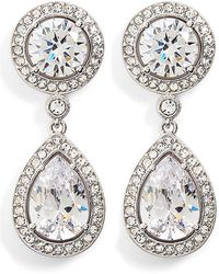 Nadri - Cz Button Drop Earrings - Lyst