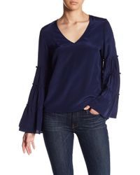Fifteen Twenty | Ruffled Bell Sleeve Silk Top | Lyst