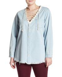 Glamorous - Frayed Lace-up Chambray Blouse (plus Size) - Lyst