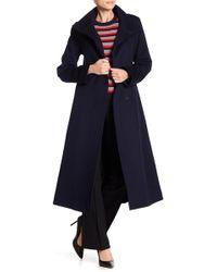 Fleurette - Funnel Neck Long Wool Coat - Lyst