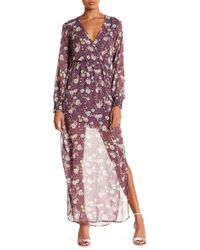 Lush - Surplice Neck Long Sleeve Maxi Dress - Lyst
