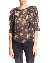 Dex - Ruffled Floral Blouse - Lyst