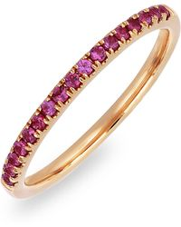 Bony Levy - 18k Rose Gold Pave Ruby Stackable Band Ring - Lyst