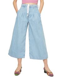 TOPSHOP - Moto Pleat Tie Crop Wide-leg Jeans - Lyst