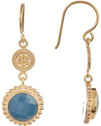 Anna Beck - 18k Gold Plated Blue Quartz Drop Earrings - Lyst