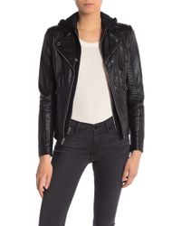 Guess - Faux Leather Removable Hooded Dickey Jacket - Lyst
