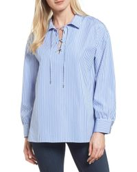Nordstrom - Lace-up Stripe Shirt - Lyst