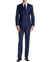 English Laundry - Dark Blue Pinstripe Two Button Peak Lapel Wool Trim Fit Suit - Lyst