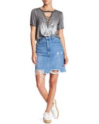 Oober Swank - Distressed Denim Mini Skirt - Lyst