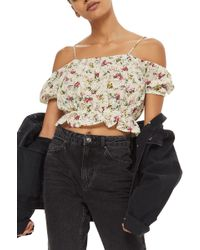 TOPSHOP - Broderie Floral Print Bardot Top - Lyst