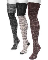 Muk Luks - Microfiber Over-the-knee Socks - 3 Pairs - Lyst