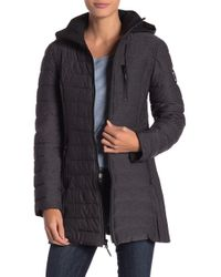 Nautica - Quilted Removable Hood Jacket - Lyst