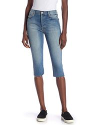 Mother - The Stunner Knicker Frayed Capri Jeans - Lyst