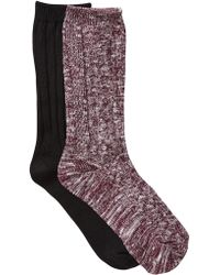 Steve Madden - Ribbed Slub Yarn Boot Socks - Pack Of 2 - Lyst