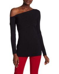 BCBGMAXAZRIA - Asymmetrical Neckline Ribbed Sweater - Lyst