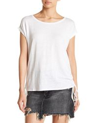 Chaser - Lace-up Side Linen Blend Tee - Lyst