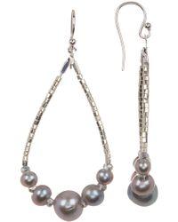 Chan Luu - Bead & Faux Pearl Teardrop Hoop Earrings - Lyst