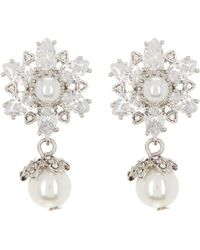 Marchesa - Cz Double Simulated Pearl Crystal Drop Earrings - Lyst