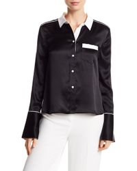 Equipment - Huntley Contrast Silk Button Down Blouse - Lyst