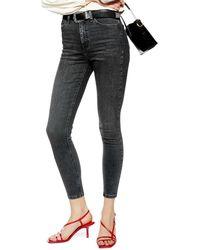 TOPSHOP Jamie High Waist Crop Skinny Jeans - Black